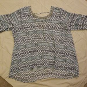 Light blue blouse with beaded neckline NWT